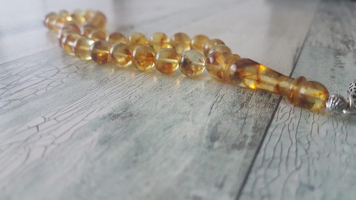 Fosilli Baltık Has Damla Kehribar Tesbih (Honey Amber)