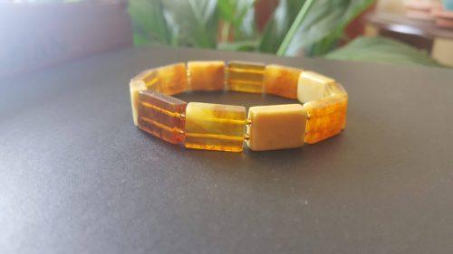 Tereyağı ve Bal renginde, Fosilli Damla Kehribar, Rolex Model Bileklik. Unisex